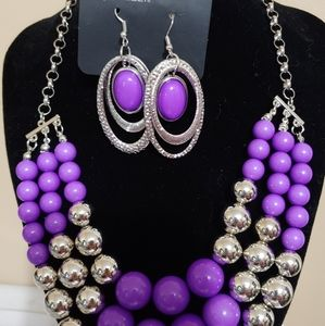 Silver and Purple Necklace Set